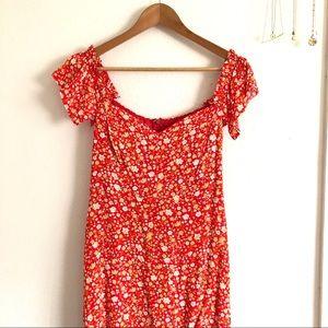 Lulu's Mariana Red Floral Print Midi Dress